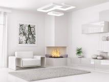 O interior da sala branca moderna 3d rende ilustração royalty free