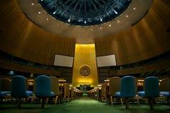 O interior da sala da assembleia geral de United Nations Fotos de Stock Royalty Free