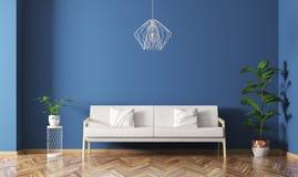 O interior da sala de visitas com sofá 3d rende Fotografia de Stock Royalty Free