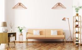 O interior da sala de visitas com sofá 3d rende Foto de Stock