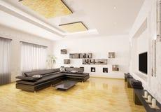 O interior da sala de visitas moderna 3d rende ilustração stock