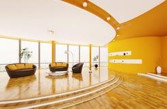 O interior da sala de visitas moderna 3d rende Fotografia de Stock Royalty Free