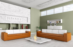 O interior da sala de visitas moderna 3d rende Imagem de Stock Royalty Free