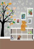 O interior da sala do ` s das crianças com mobília, brinquedos, desenhos do ` s das crianças Ilustração de uma sala do ` s das cr Imagens de Stock Royalty Free