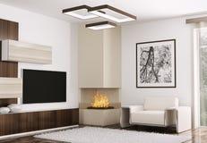 O interior da sala moderna 3d rende Fotos de Stock Royalty Free