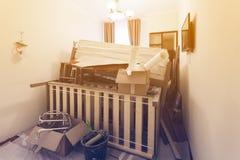 O interior da sala no apartamento prepearing à construção, à remodelação, à renovação, extensão, restauração e fotos de stock royalty free
