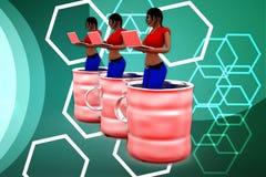 o interior das mulheres 3d pode ilustração Imagens de Stock