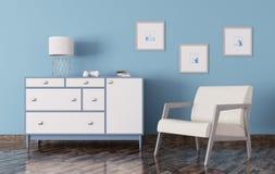 O interior de uma sala com a caixa de gavetas e a poltrona 3d rendem Fotografia de Stock