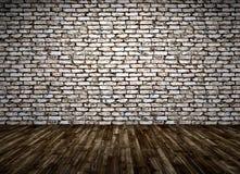 O interior de uma sala com parede de tijolo e o assoalho de madeira 3d rendem Fotos de Stock Royalty Free