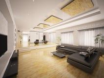 O interior do apartamento moderno 3d rende ilustração stock