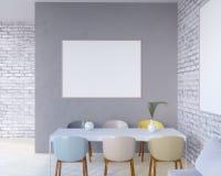 O interior do conceito, zomba acima do cartaz na parede, ilustração 3d rende, render, retro, sala, escandinava Fotos de Stock