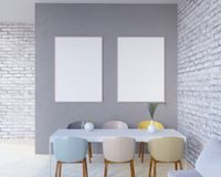 O interior do conceito, zomba acima do cartaz na parede, ilustração 3d rende, render, retro, sala, escandinava Foto de Stock