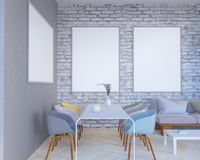 O interior do conceito, zomba acima do cartaz na parede, ilustração 3d rende, render, retro, sala, escandinava Fotografia de Stock Royalty Free