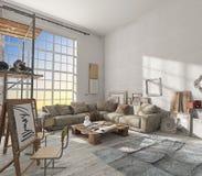 O interior do estúdio do artista do pintor Foto de Stock