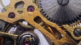 O interior do maquinismo de relojoaria, engrenagens gerencie no pulso de disparo video estoque