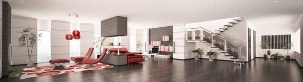 O interior do panorama moderno 3d do apartamento rende Fotos de Stock