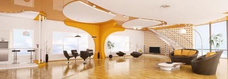 O interior do panorama moderno 3d do apartamento rende Imagens de Stock Royalty Free