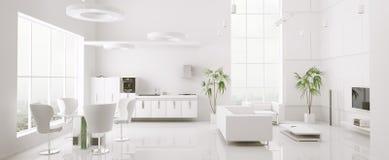 O interior do panorama moderno 3d do apartamento rende Fotografia de Stock