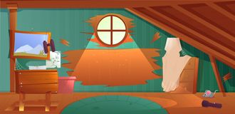 O interior do sótão Uma sala esquecida velha com as caixas no telhado Lâmpada e imagens e escadas à parte superior ilustração do vetor