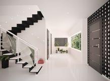 O interior do salão de entrada moderno 3d rende Fotografia de Stock