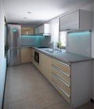 O interior em forma de L da cozinha do minimalismo, 3d rende Fotos de Stock