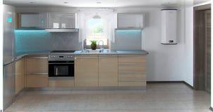 O interior em forma de L da cozinha do minimalismo, 3d rende Fotos de Stock Royalty Free