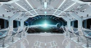 O interior limpo branco da nave espacial com vista na terra 3D do planeta arranca ilustração do vetor
