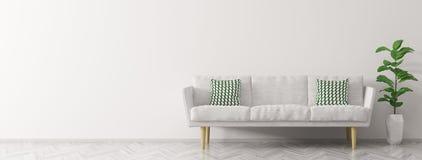 O interior moderno com panorama branco 3d do sofá rende Imagens de Stock