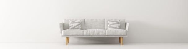 O interior moderno com panorama branco 3d do sofá rende Fotografia de Stock Royalty Free