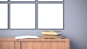 O interior moderno com quadro vazio do cartaz na parede cinzenta escura/3d rende a imagem fotos de stock royalty free