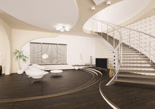 O interior moderno da sala de visitas 3d rende Imagens de Stock