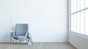 O interior moderno da sala de visitas com poltrona escura, o veludo e o vaso/3d rendem a imagem Imagem de Stock Royalty Free