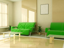O interior na luz tonifica o jalousie do indicador da tabela do sofá Imagem de Stock Royalty Free
