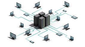 O Internet da tecnologia das coisas conecta o sistema do servidor IoT, opinião da dimensão 3D ilustração royalty free