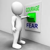 O interruptor do medo da coragem mostra receoso ou corajoso ilustração stock