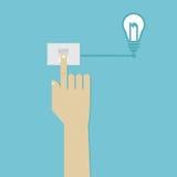 O interruptor humano da imprensa da mão para gerencie sobre a ideia do negócio ilustração do vetor