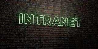 O INTRANET - sinal de néon realístico no fundo da parede de tijolo - 3D rendeu a imagem conservada em estoque livre dos direitos ilustração do vetor