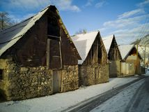 O inverno é bonito no campo foto de stock