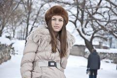 O inverno da menina veste-se acima Fotos de Stock