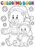 O inverno do livro para colorir carrega o tema 1 Foto de Stock Royalty Free