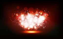O inverno do Natal, estrelas dispersa para vislumbrar o partido de néon dos confetes da celebração, poeira brilhante que incandes ilustração royalty free
