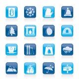 O inverno, esporte e relaxa ícones Fotos de Stock
