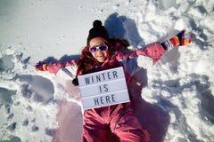 O inverno está aqui fotografia de stock