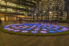 O inverno ilumina o festival em Canary Wharf fotografia de stock royalty free