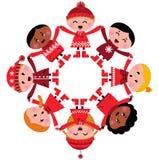 O inverno multicultural feliz caçoa as mãos da terra arrendada ilustração royalty free