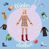 O inverno veste o conceito, estilo dos desenhos animados ilustração royalty free