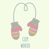 O inverno veste mitenes Ilustração de cor pastel, Imagem de Stock Royalty Free