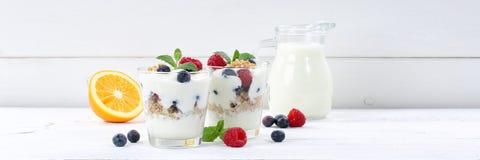 O iogurte do iogurte da baga com frutos de bagas coloca o woode da bandeira do muesli Imagem de Stock Royalty Free