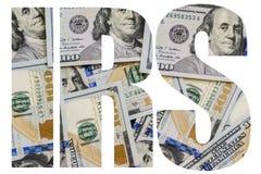 O IRS, dinheiro americano um grande número cem-dólar novo desintegrou cem U imagem de stock