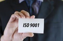 O Iso 9001 text o conceito Imagens de Stock Royalty Free